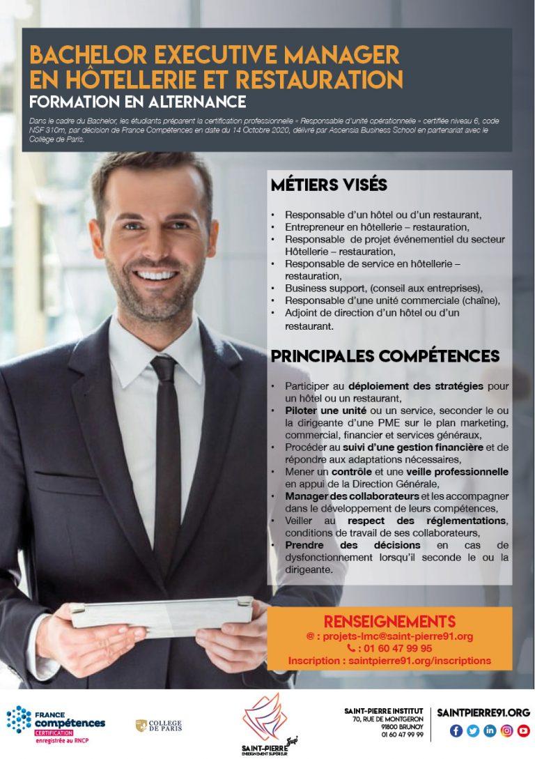 bachelor-executive manager hotellerie restauration